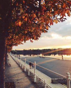 Rives de l'Allier Vichy, coucher de soleil